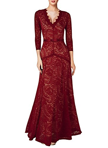 Miusol Women's Floral Lace 2/3 Sleeves Long Bridesmaid Maxi Dress (3X-Large, Red)