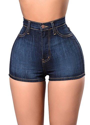 Romacci Sexy Summer Women Denim Shorts Vintage High Waist Jeans Shorts Street Wear Hot Pants Dark Blue/Light Blue by Romacci (Image #7)