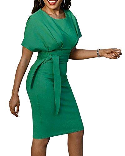 Pencil Sleeve Length with Gobought Dresses Belt Bodycon Green Knee Womens Short tCRtxaYwq