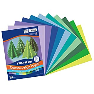 """Tru-Ray Heavyweight Construction Paper, Cool Assorted Colors, 9"""" x 12"""", 50 Sheets"""
