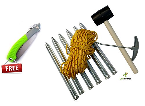 Camping-Tent-Accessory-Kit-Free-Camping-Saw-and-Bonus-Survival-Skills-Guide-Steel-Pegs-Mallet-Metal-Stakes-Puller-and-Nylon-Rope