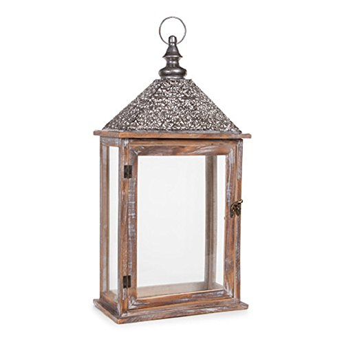 - Darice 30010801 Distressed Wooden Lantern with Silver Iron Roof