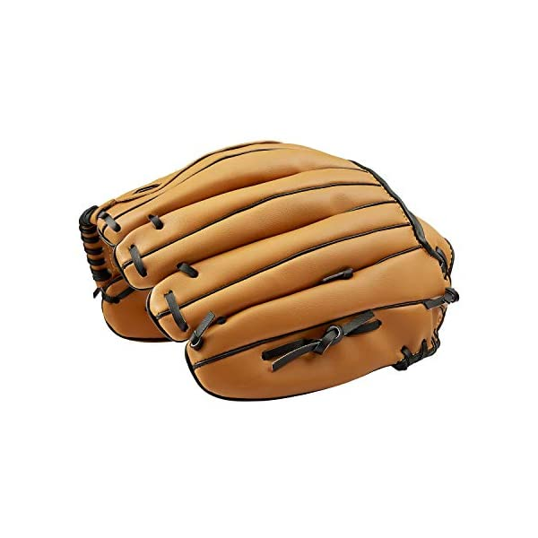 Sports Batting Gloves with Baseball PU Leather Left Baseball Glove with 1 Ball