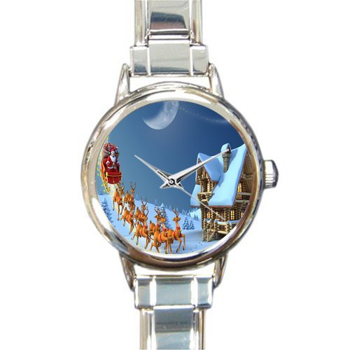 Personalized Watch Santa Claus with Reindeer to send Gift Round Italian Charm stainless steel Watch