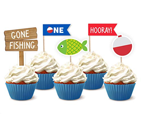 24 Pcs Gone Fishing Bobber Cupcake Toppers Kids Little Fisherman Birthday Party Cake Decoration Supplies - Personalized Plaque Princess