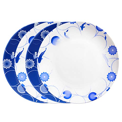 Dinner China Plate Bone - ZENS Bone China Dinnerware Set,10 Inch Bone China Dinner Plates Set of 4, Blue and White Floral Serving Plates for Housewarming Mother's Day Gifts
