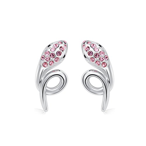 Winter's Secret Silver Diamond Accented Stereoscopic Auspicious Snake Pink Crystal Stud (Adi Earring)