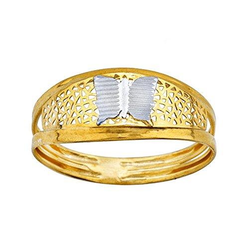 Bague 18k gold bicolor papillon centre sculpté [AA7005]