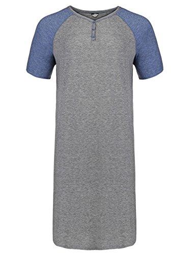 Declare Men's Nightshirt Cotton Nightwear Comfy Big&Tall Short Sleeve Henley Sleep Shirt(Grey,XL) (Henley Gown)