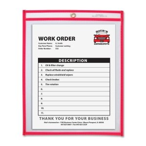 C-line Shop Ticket Holder, 9 x 12 Inches, Metal Eyelet, Neon Red (CLI43914)