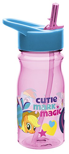 Zak! Designs Tritan Water Bottle with Flip-Up Spout and Straw with My Little Pony Graphics, Break-resistant and BPA-free Plastic, 16.5 oz.