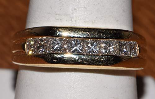 (14k Yellow Gold Princess cut Diamond Band)
