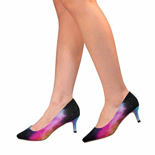 Scarpe Da Donna Low Cost Con Tallone Gattino A Punta Svasata Scarpe Pompa Blu E Rosa In Polvere Su Sfondo Nero Multi 1