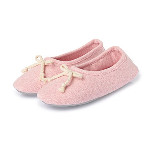 Cotton slip for Shoes Indoor Foldable Pink2 women's Slippers Ballerina Knitted Anti Girls Gaatpot Ballet House Flats nzwFUH7xq