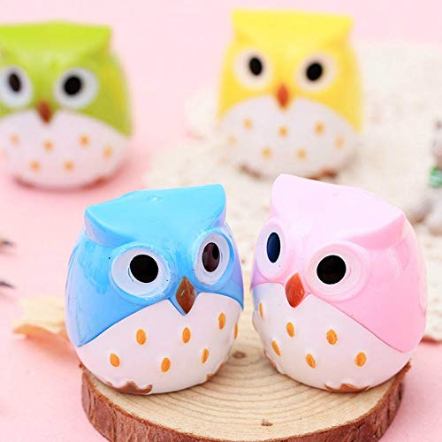 RanMory31 Manual Pencil Sharpener 2pcs Cute Manual Owl Pencil Sharpeners Plastic Owl Shape Pencil Cutter Kids Gifts for School and Office Stationery Supplies