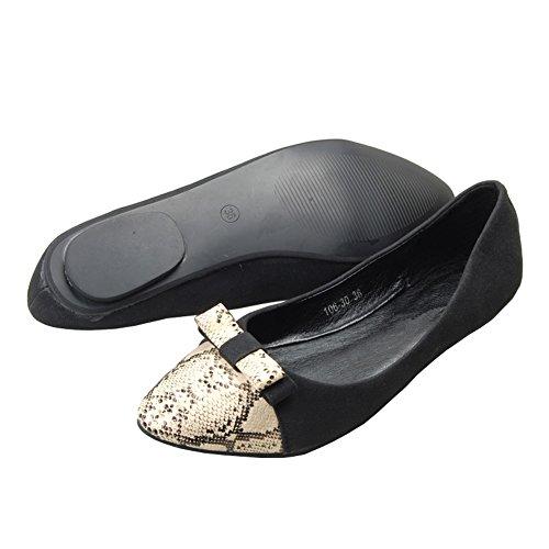 on Ballet Black Women's Flats 281 NO Casual Toe fereshte Shoes Comfy Pointed Slip npqCWSx