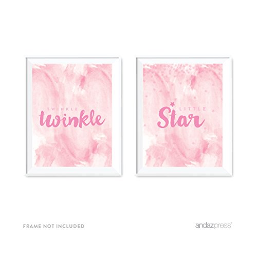 Andaz Press Nursery Kids Room Wall Art Decor, Lullaby Collection, Twinkle Twinkle Little Star, Girl Pink, 2-Pack, Poster Sign Decorations and Party Decor, Girl Baptism Ideas, -