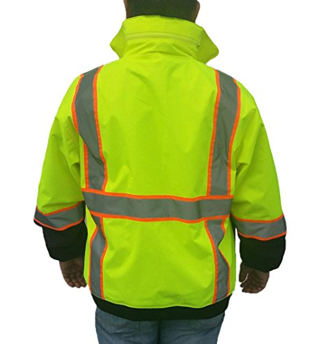3C SAJ5710, ANSI Class 3, High Vis 3-in-1 Bomber Jacket, Water Resistant, Removable, Reflective, Neon Green w/Blk Bottom