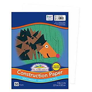 "SunWorks Construction Paper, Bright White, 9"" x 12"", 50 Sheets"