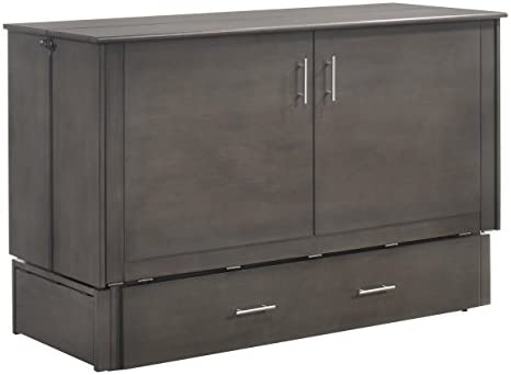 Night Day Furniture MUR-SAGB STW and MND-GMF-TRI-QEN Sagebrush Murphy Cabinet Bed with Mattress, Queen, Stonewash