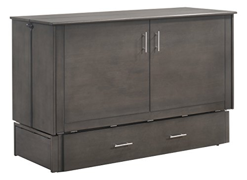 (Night & Day Furniture MUR-SAGB STW and MND-GMF-TRI-QEN Sagebrush Murphy Cabinet Bed with Mattress, Queen, Stonewash)