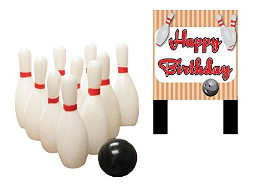 Bowling Happy Birthday Banner and Mini Miniature Bowling Pins Toys Cake Decoration Cake Topper Bowling Birthday Cake