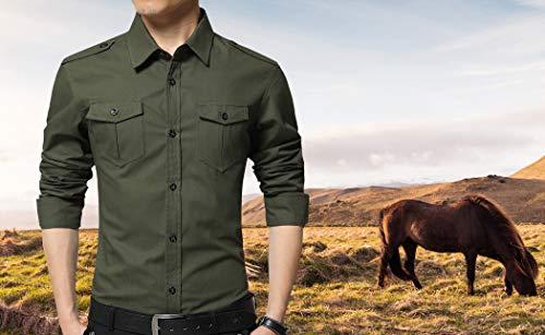 XTAPAN Men's Casual Slim Fit Shirt Cotton Long Sleeve Button Down Dress Shirt 4