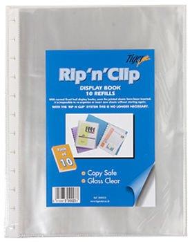 10 x A4 Rip N Clip Display Book Glass Clear Refill Storage Pocket ()