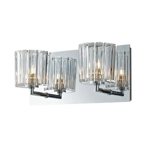 picture of Alico Industries BV4002-0-15 Sprocket Collection 2-Light Vanity Fixture, Chrome Finish with Crystal Glass