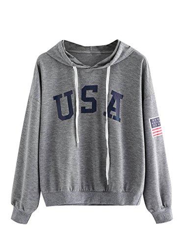 MakeMeChic Women's Loose American Flag Sweatshirt Long Sleeve Print Pullover Grey XS (Usa Sweatshirt Flag)