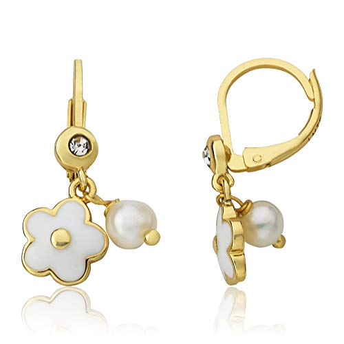 Little Miss Twin Stars Frosted Flowers 14k Gold-Plated Enamel Flower Leverback Earring Accented with Fresh Water Pearl (White)