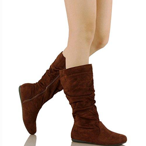 Guilty Schuhe Frauen Winter Leichte Mitte Kalb Kniehohe Komfortable Slouchy - Walking Flache Ferse Mode Stiefel Braunes Wildleder