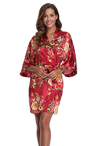 VogueBridal Women's Short Floral Wedding Kimono Robe, Burgundy M (Red Floral Scroll)