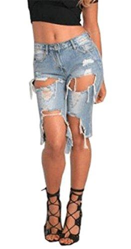 Top CMC Womens Distressed Butt Lift Washed Faded Bermuda Denim Shorts