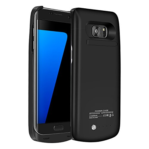 Galaxy S7 Edge Battery Case,Accerzone External Rechargeable Power Bank 5200mAh Protective Portable Slim Backup Charging Case with Kickstand for Samsung Galaxy S7 Edge(Not for S7) (Black) (Samsung Galaxy S7 Edge Backpack Battery Case)