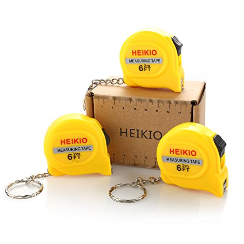 (HEIKIO 3-Pack Measuring Tape 6FT/2M, with Belt Clip and Key Chain, Accurate Metric and Inch Scale, Clear Mark for DIY and Daily Family Use - Locking Mini Tape Measure 17001)