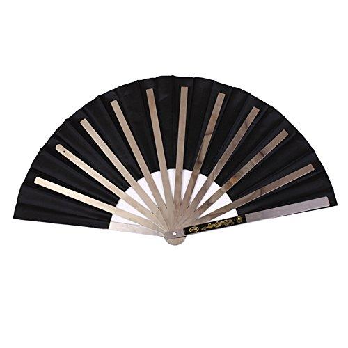 Lixada Ventilador de Kung Fu de la Aptitud del Acero Inoxidable Fan Tradicional de la Demostración de la Fan de Tai Chi negro