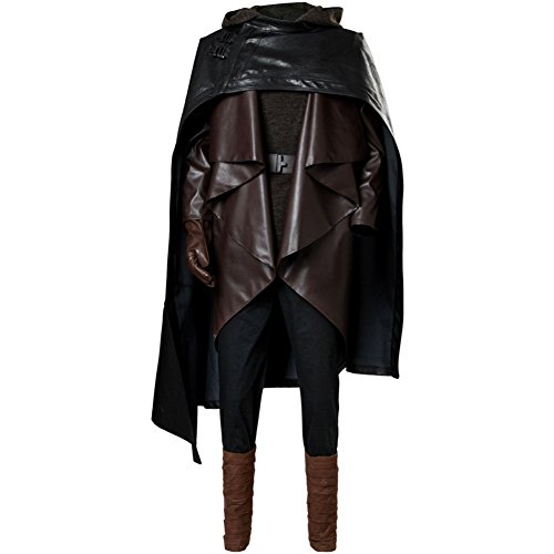 (Men's Luke Skywalker Outfit The Last Jedi Halloween Cosplay Costume Balck)
