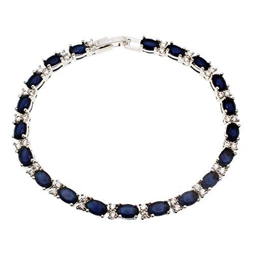 Tennis Bracelet Silver Rhinestone Sapphire Crystal Cubic Zircon 8 inches (Sapphire 8 - Bracelet Emerald Ruby Sapphire