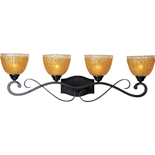 Maxim Lighting 13424AIOI Barcelona 4-Light 10-1/2-Inch Bath Bar, Oil Rubbed Bronze Finish with Amber Ice Glass Shades 30%OFF