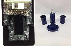 19 piece bath accessory set greek key navy blue bathroom rug contour mat shower. Black Bedroom Furniture Sets. Home Design Ideas