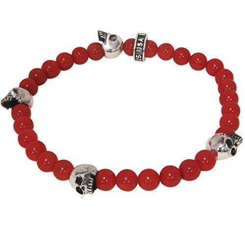 Silver Skull Red Coral Beaded Mens Bracelet By King Baby Studio