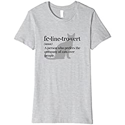 Women's Felinetrovert: Shirt for Cat Lovers, Pet Owners & Introverts Medium Heather Grey