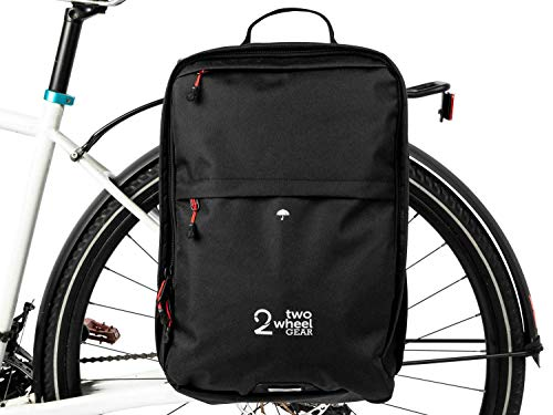 Two Wheel Gear - Pannier Backpack Plus+ (Large) - 2 in 1 - Bike Commuting and Travel Bag (Black)