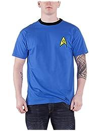 Star Trek T Shirt Science Medical Spock Uniform Official Mens New Blue Ringer