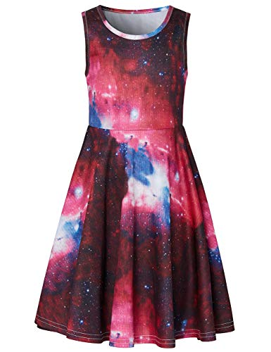 (Idgreatim Girls Starry Night Dress 3D Graphic Active Primary School Dresses Swing Sleeveless for Little Girls for Vacation Holiday 10-12T)