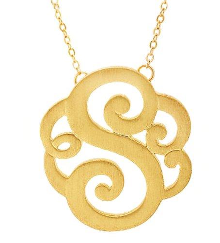 (GlitterLounge Monogram Initial Pendant Necklace Personalized Swirl Letter Charm Matte Gold Tone (Letter S))