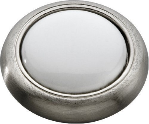(Hickory Hardware P709-SNW 1-1/8-Inch Tranquility Knob, Satin Nickel With White by Hickory Hardware)