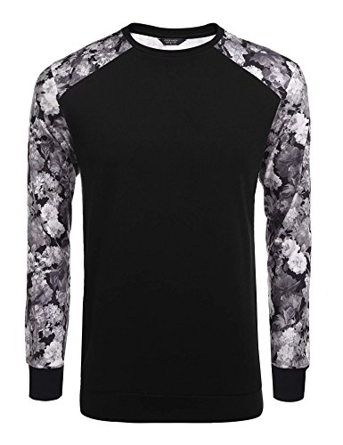 Coofandy Men's Fashion Floral Long Sleeve Baseball T-Shirts Casual Jersey Sweatshirt