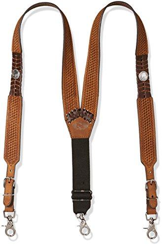 Nocona Belt Co. Men's Buffalo Nickel Basket Leather Suspender, tan, Large
